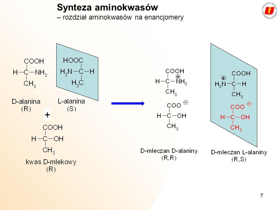 Synteza aminokwasów – rozdział aminokwasów na enancjomery
