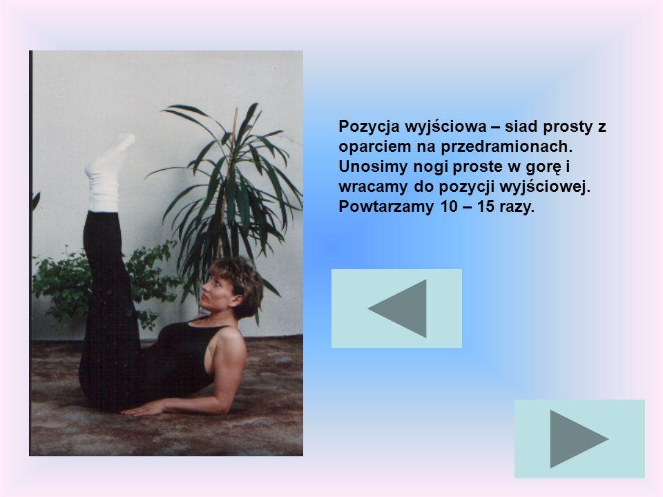 Pozycja wyjściowa – siad prosty z oparciem na przedramionach