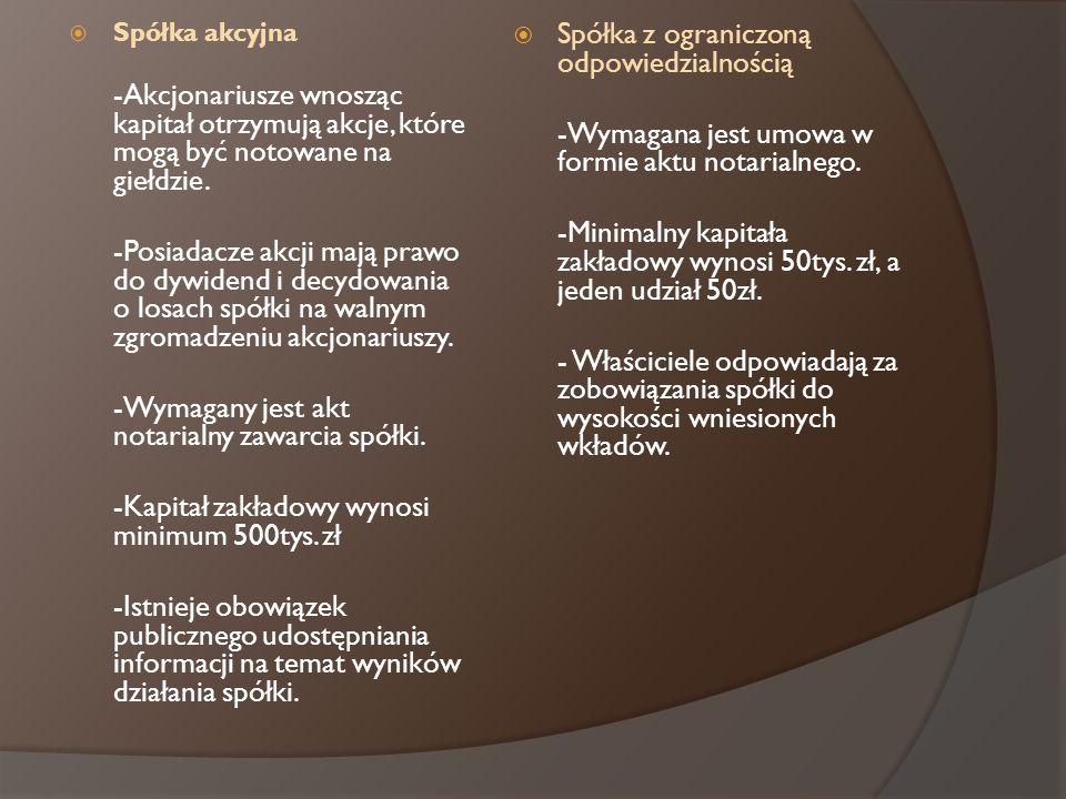 -Wymagany jest akt notarialny zawarcia spółki.
