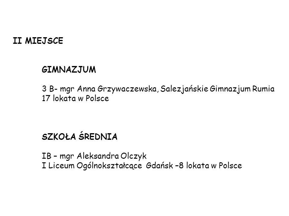 II MIEJSCE GIMNAZJUM. 3 B- mgr Anna Grzywaczewska, Salezjańskie Gimnazjum Rumia. 17 lokata w Polsce.