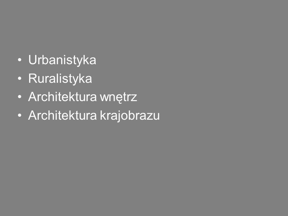 Urbanistyka Ruralistyka Architektura wnętrz Architektura krajobrazu