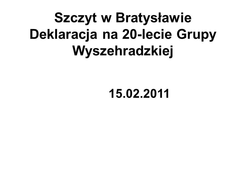 Szczyt w Bratysławie Deklaracja na 20-lecie Grupy Wyszehradzkiej