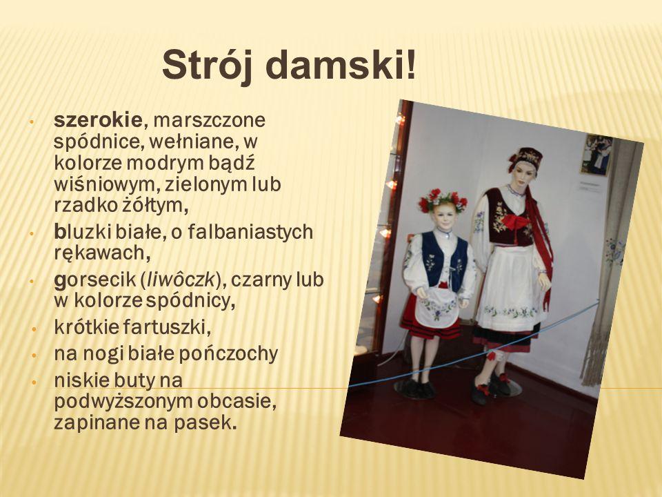 Strój damski! szerokie, marszczone spódnice, wełniane, w kolorze modrym bądź wiśniowym, zielonym lub rzadko żółtym,