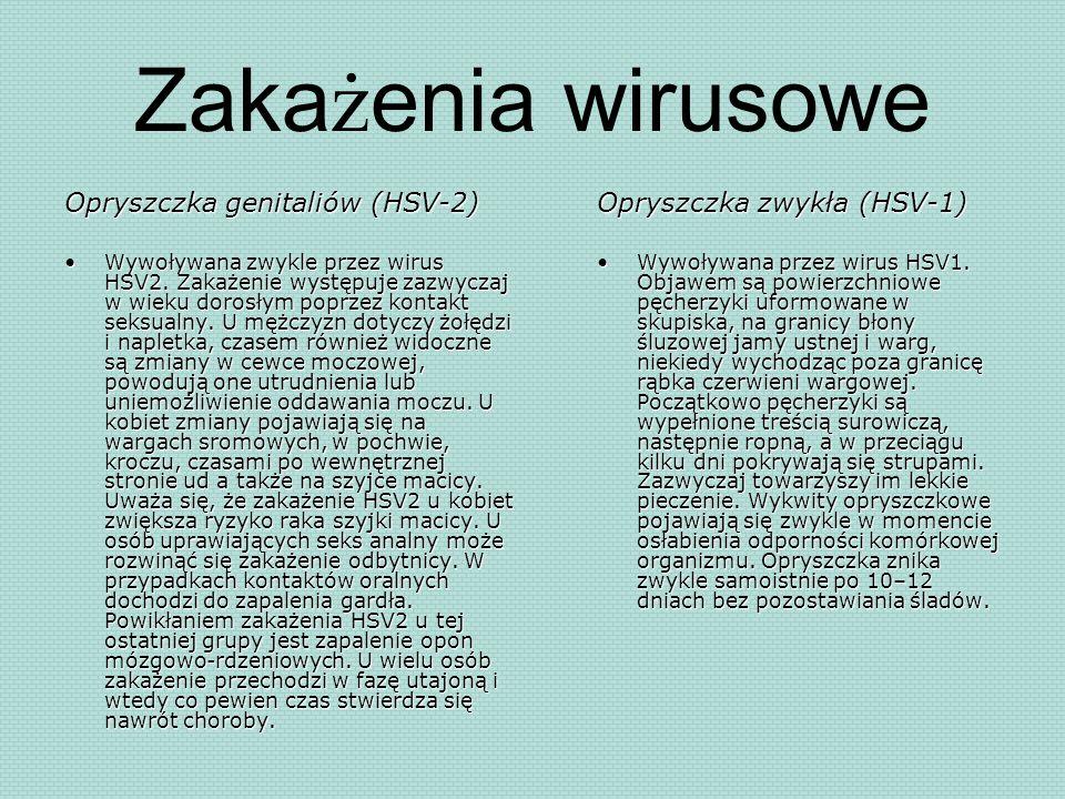 Zakażenia wirusowe Opryszczka genitaliów (HSV-2)