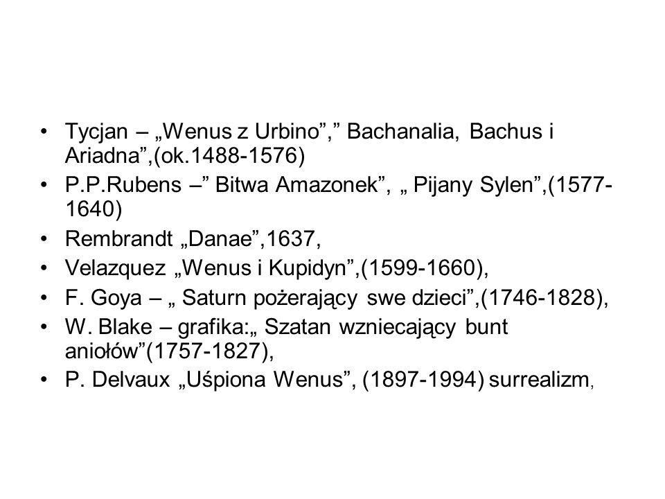 """Tycjan – """"Wenus z Urbino , Bachanalia, Bachus i Ariadna ,(ok"""