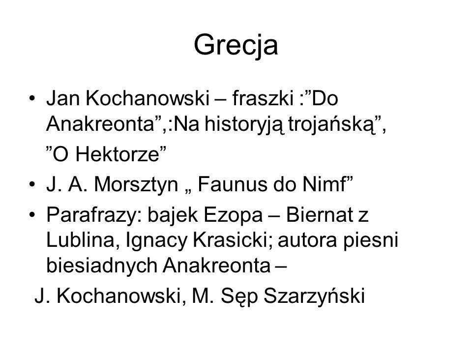 """Grecja Jan Kochanowski – fraszki : Do Anakreonta ,:Na historyją trojańską , O Hektorze J. A. Morsztyn """" Faunus do Nimf"""