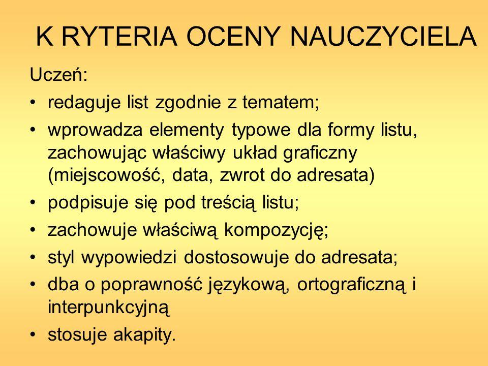 K RYTERIA OCENY NAUCZYCIELA