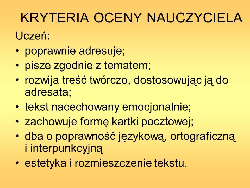 KRYTERIA OCENY NAUCZYCIELA