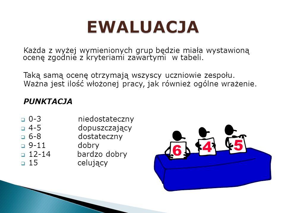 EWALUACJA Każda z wyżej wymienionych grup będzie miała wystawioną ocenę zgodnie z kryteriami zawartymi w tabeli.