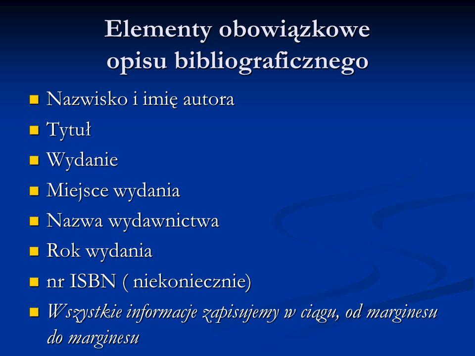 Elementy obowiązkowe opisu bibliograficznego