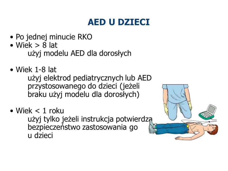 AED U DZIECI Po jednej minucie RKO Wiek > 8 lat