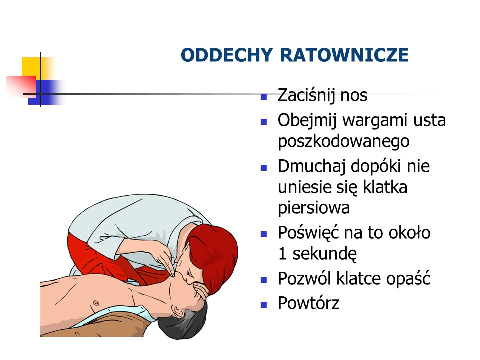 ODDECHY RATOWNICZE Zaciśnij nos Obejmij wargami usta poszkodowanego