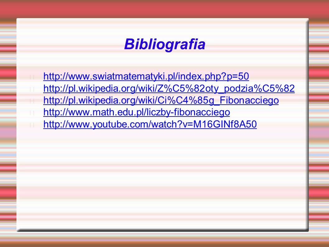 Bibliografia http://www.swiatmatematyki.pl/index.php p=50