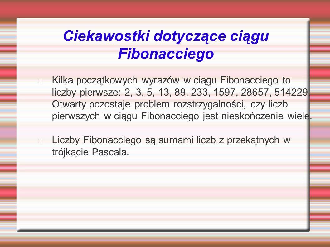 Ciekawostki dotyczące ciągu Fibonacciego