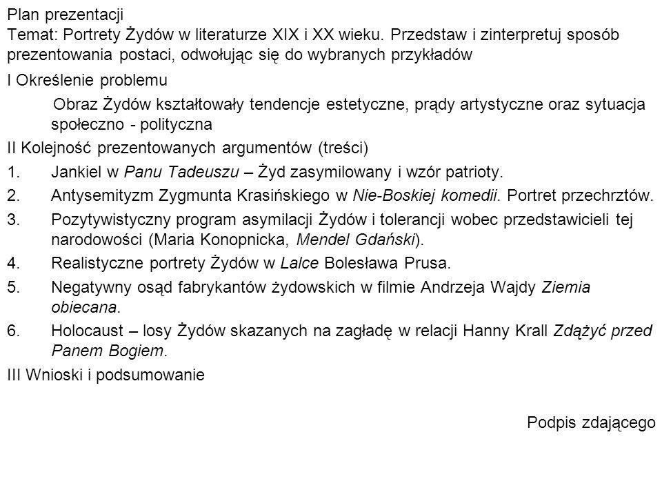 Plan prezentacji Temat: Portrety Żydów w literaturze XIX i XX wieku