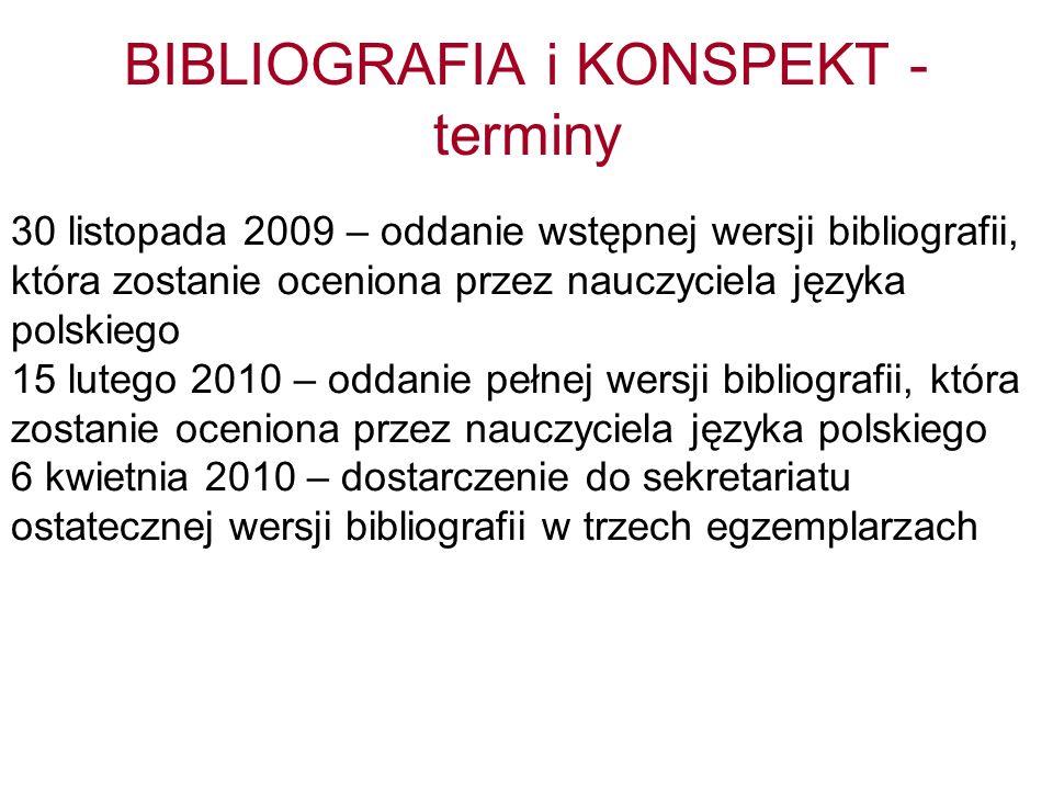BIBLIOGRAFIA i KONSPEKT - terminy