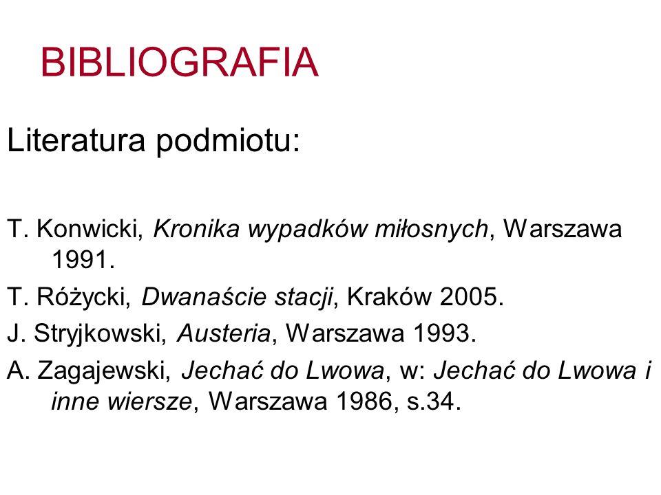BIBLIOGRAFIA Literatura podmiotu: