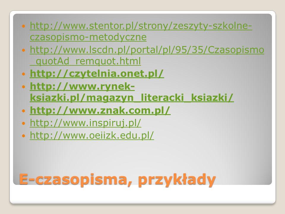 E-czasopisma, przykłady