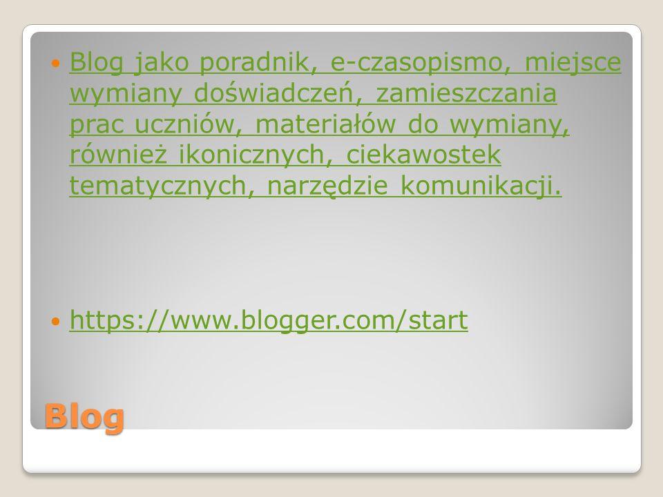 Blog jako poradnik, e-czasopismo, miejsce wymiany doświadczeń, zamieszczania prac uczniów, materiałów do wymiany, również ikonicznych, ciekawostek tematycznych, narzędzie komunikacji.
