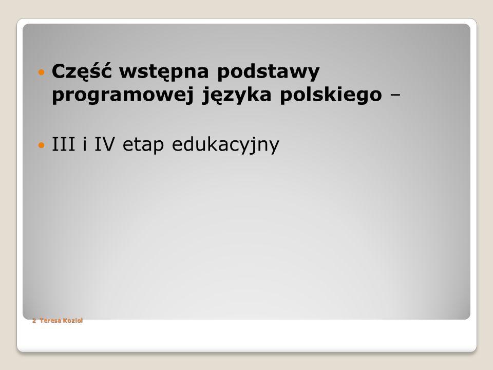 Część wstępna podstawy programowej języka polskiego –