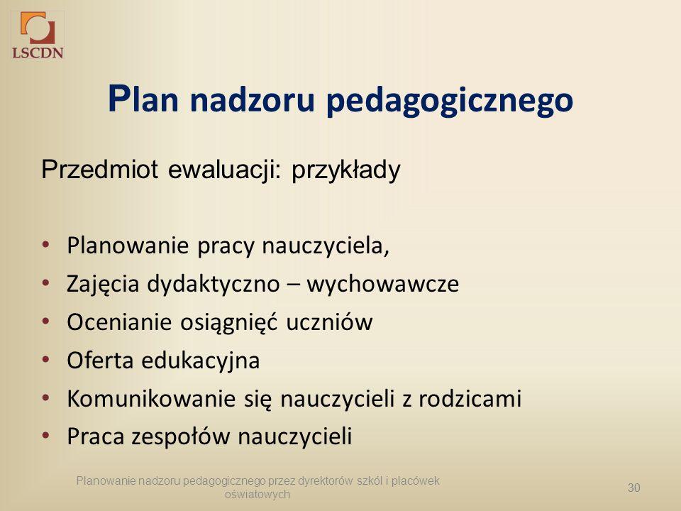 Plan nadzoru pedagogicznego