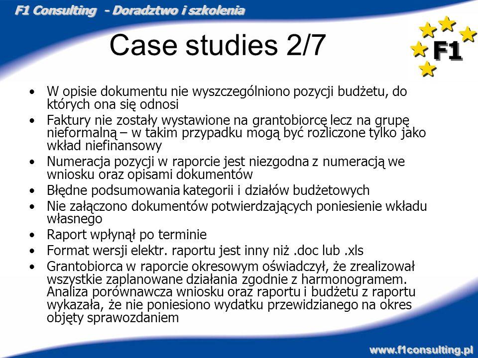 Case studies 2/7W opisie dokumentu nie wyszczególniono pozycji budżetu, do których ona się odnosi.