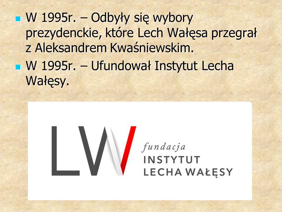 W 1995r. – Odbyły się wybory prezydenckie, które Lech Wałęsa przegrał z Aleksandrem Kwaśniewskim.
