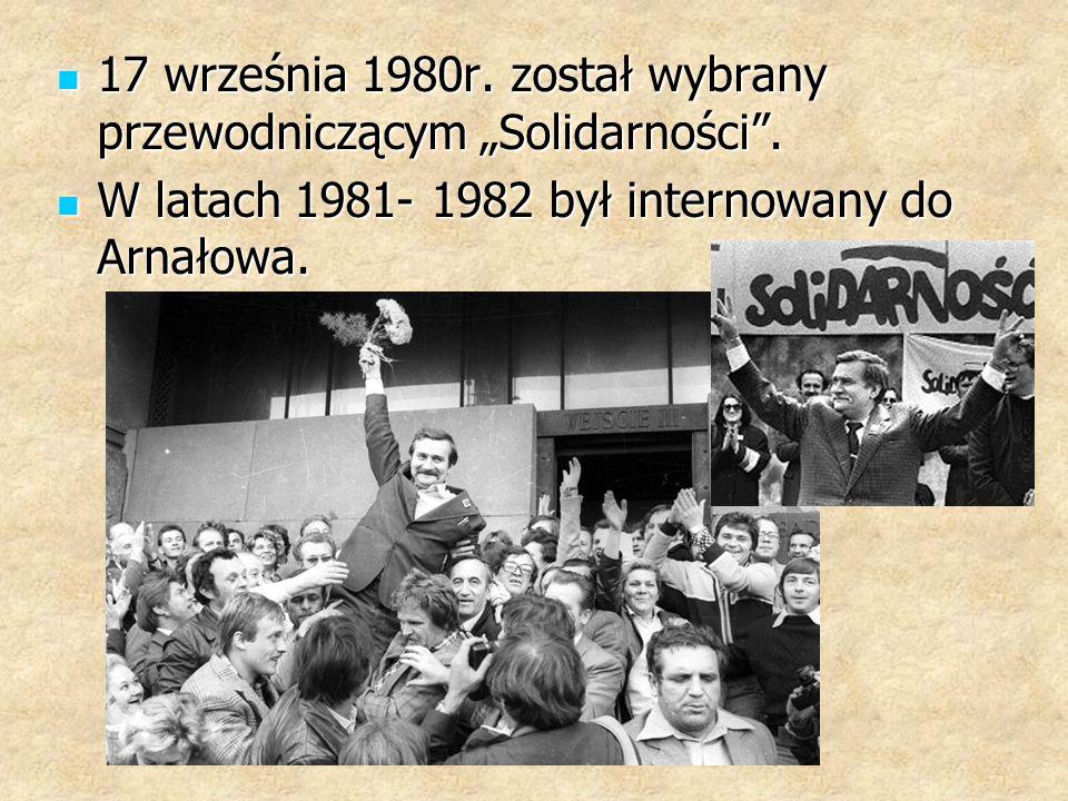 """17 września 1980r. został wybrany przewodniczącym """"Solidarności ."""