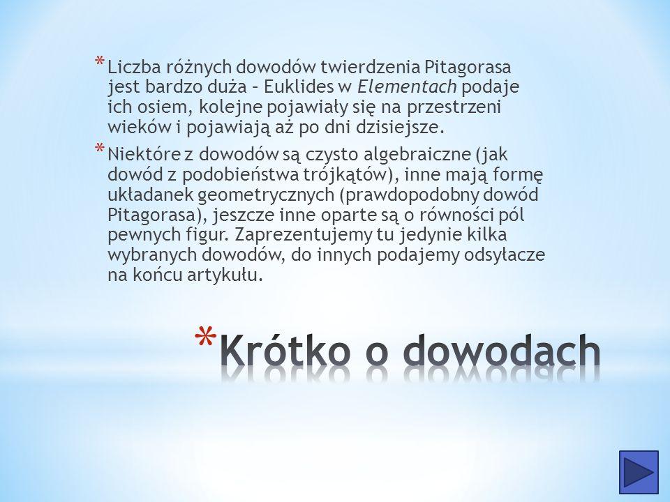 Liczba różnych dowodów twierdzenia Pitagorasa jest bardzo duża – Euklides w Elementach podaje ich osiem, kolejne pojawiały się na przestrzeni wieków i pojawiają aż po dni dzisiejsze.