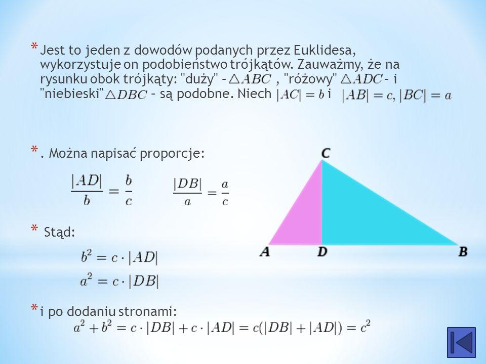 Jest to jeden z dowodów podanych przez Euklidesa, wykorzystuje on podobieństwo trójkątów. Zauważmy, że na rysunku obok trójkąty: duży – , różowy – i niebieski – są podobne. Niech i