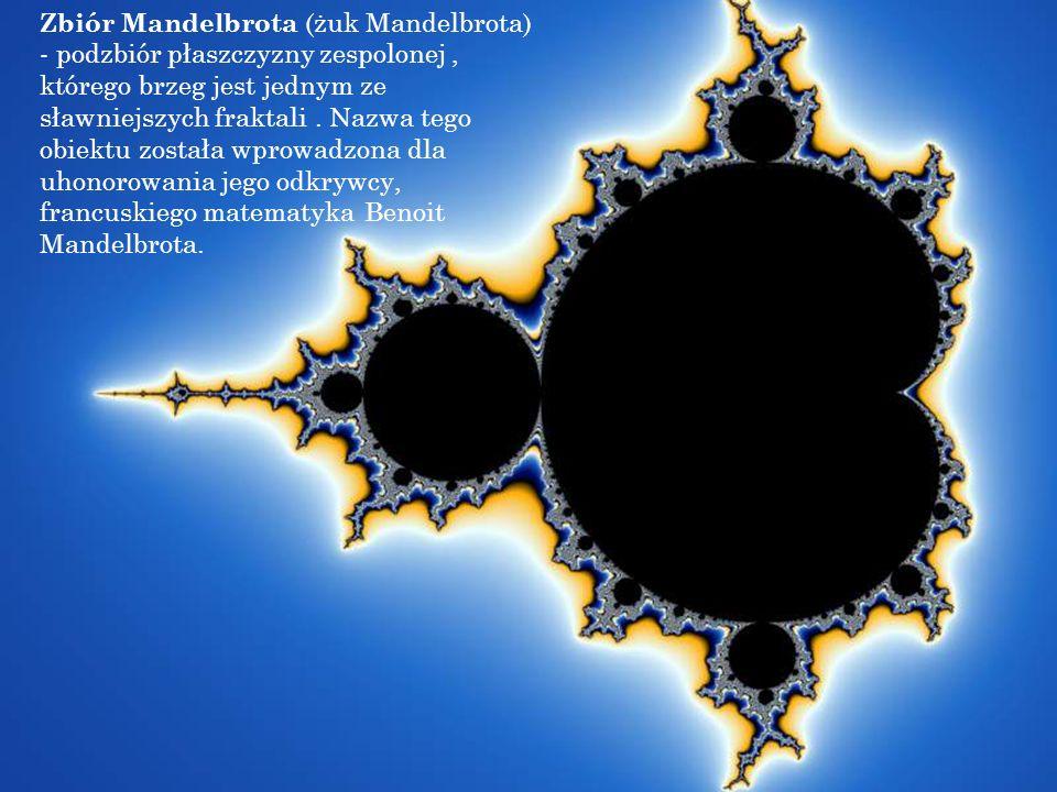 Zbiór Mandelbrota (żuk Mandelbrota) - podzbiór płaszczyzny zespolonej , którego brzeg jest jednym ze sławniejszych fraktali .
