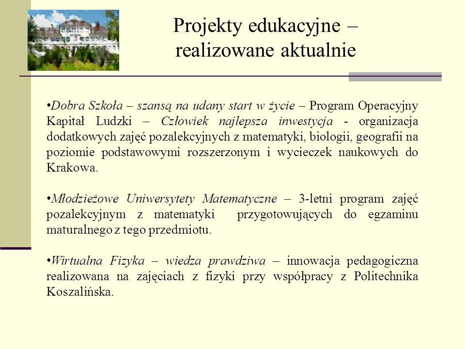 Projekty edukacyjne – realizowane aktualnie
