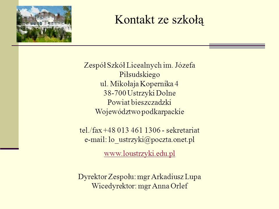 Dyrektor Zespołu: mgr Arkadiusz Lupa Wicedyrektor: mgr Anna Orlef