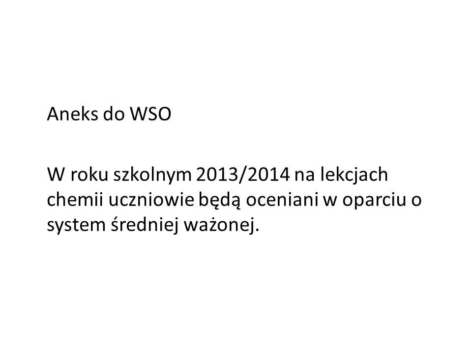 Aneks do WSO W roku szkolnym 2013/2014 na lekcjach chemii uczniowie będą oceniani w oparciu o system średniej ważonej.