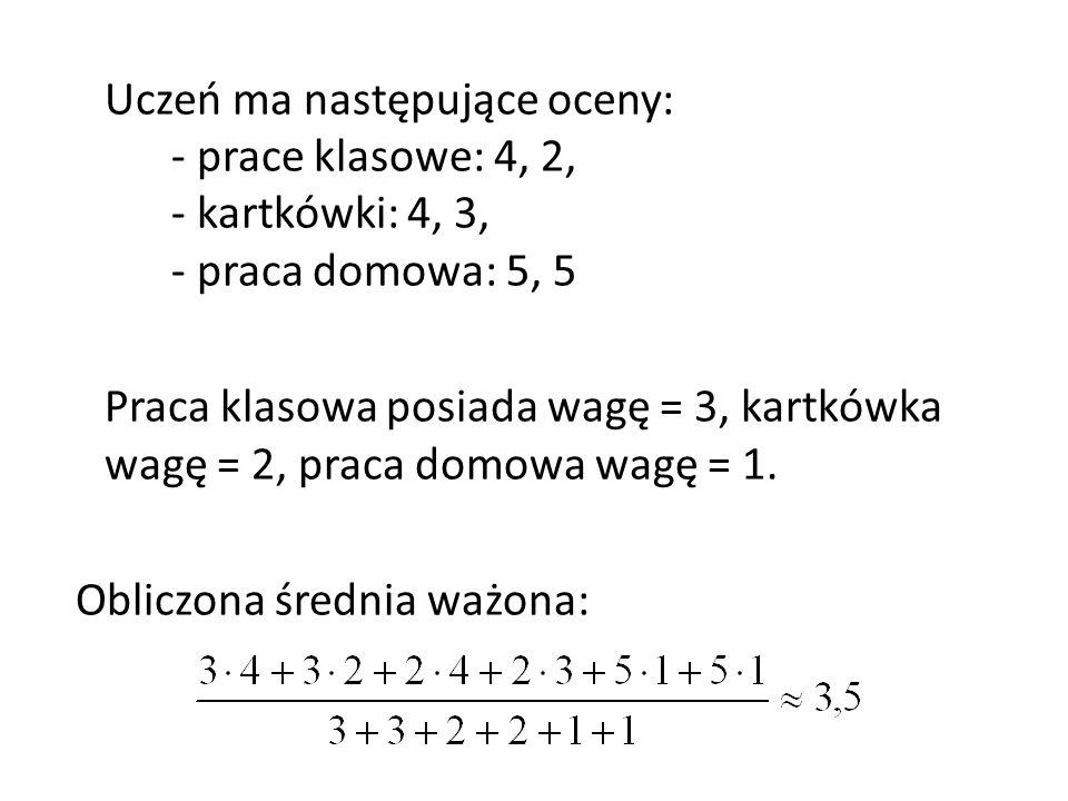 Uczeń ma następujące oceny: - prace klasowe: 4, 2, - kartkówki: 4, 3, - praca domowa: 5, 5 Praca klasowa posiada wagę = 3, kartkówka wagę = 2, praca domowa wagę = 1.