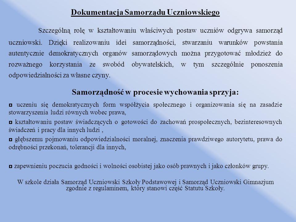 Dokumentacja Samorządu Uczniowskiego