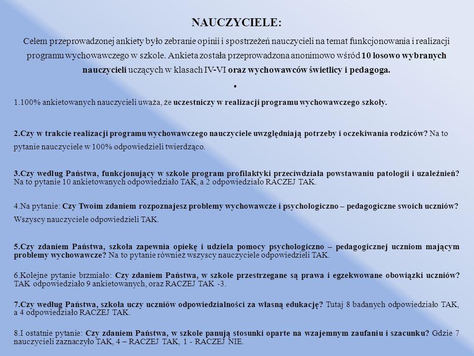 NAUCZYCIELE: