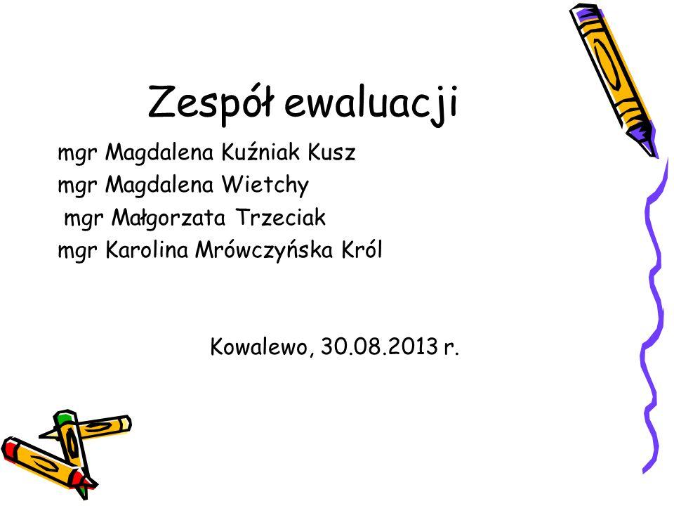 Zespół ewaluacji mgr Magdalena Kuźniak Kusz mgr Magdalena Wietchy