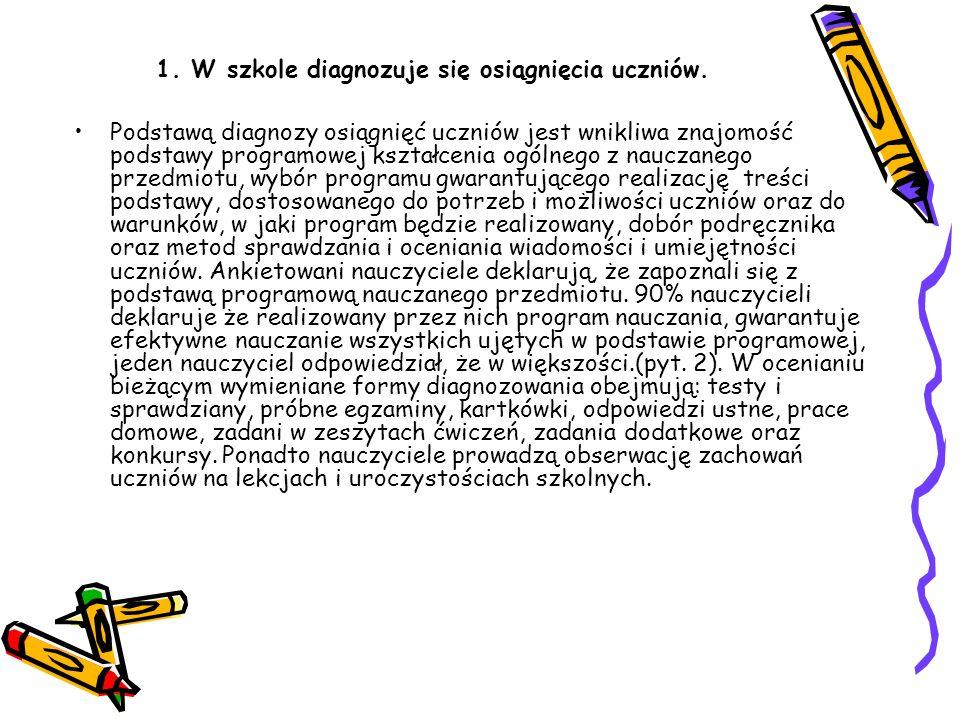 1. W szkole diagnozuje się osiągnięcia uczniów.