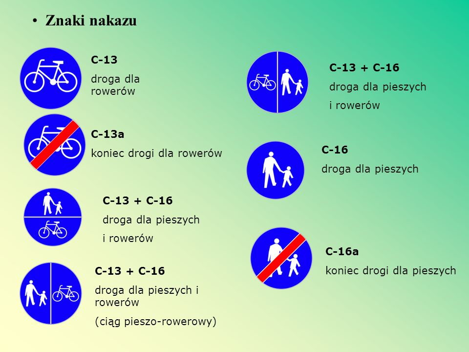 Znaki nakazu C-13 droga dla rowerów C-13 + C-16 droga dla pieszych