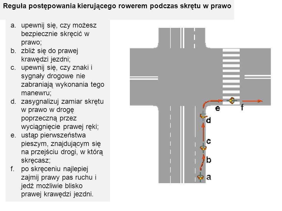 Reguła postępowania kierującego rowerem podczas skrętu w prawo