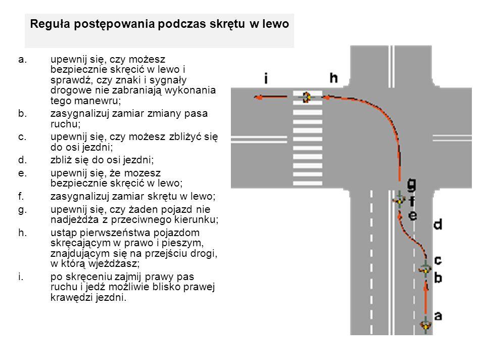 Reguła postępowania podczas skrętu w lewo