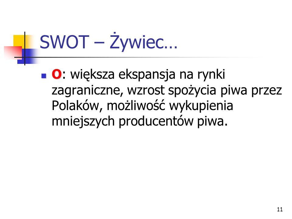 SWOT – Żywiec… O: większa ekspansja na rynki zagraniczne, wzrost spożycia piwa przez Polaków, możliwość wykupienia mniejszych producentów piwa.