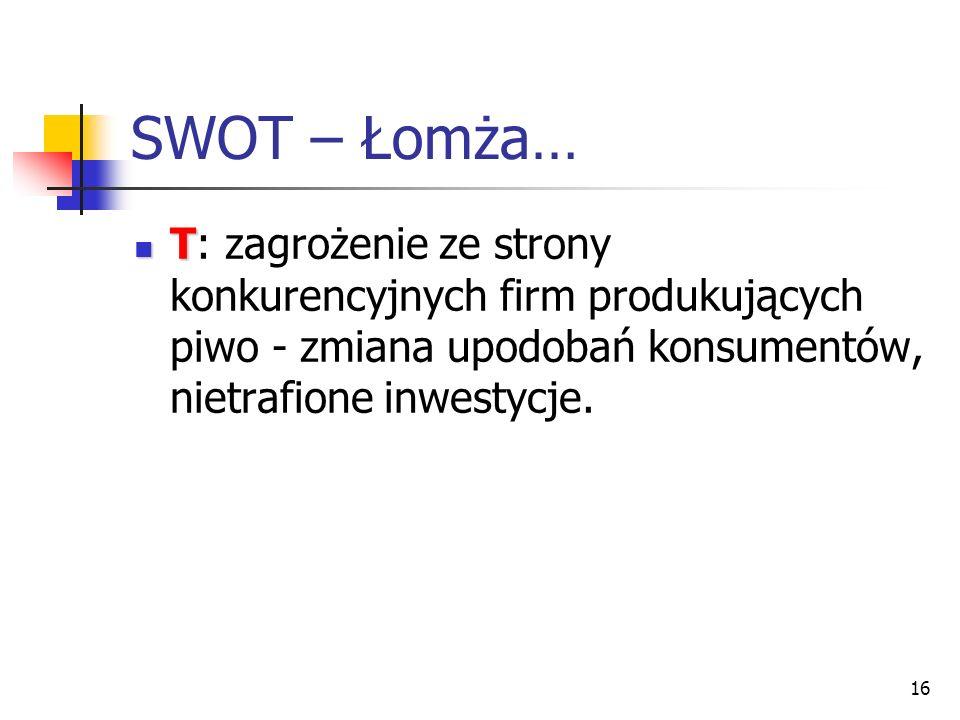 SWOT – Łomża… T: zagrożenie ze strony konkurencyjnych firm produkujących piwo - zmiana upodobań konsumentów, nietrafione inwestycje.