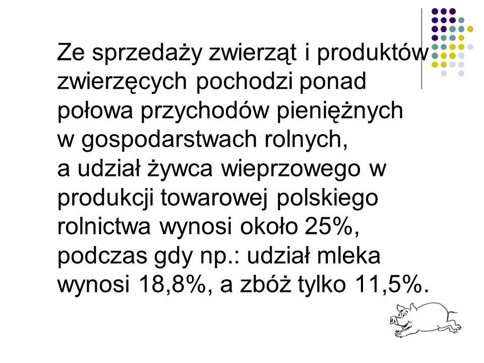 Ze sprzedaży zwierząt i produktów zwierzęcych pochodzi ponad połowa przychodów pieniężnych w gospodarstwach rolnych, a udział żywca wieprzowego w produkcji towarowej polskiego rolnictwa wynosi około 25%, podczas gdy np.: udział mleka wynosi 18,8%, a zbóż tylko 11,5%.