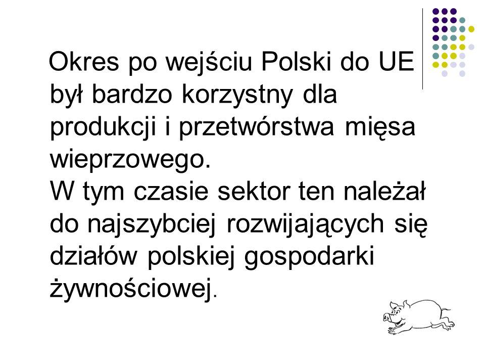 Okres po wejściu Polski do UE był bardzo korzystny dla produkcji i przetwórstwa mięsa wieprzowego.