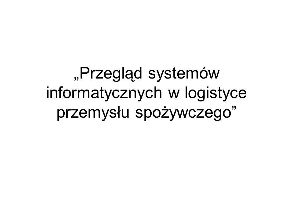 """""""Przegląd systemów informatycznych w logistyce przemysłu spożywczego"""