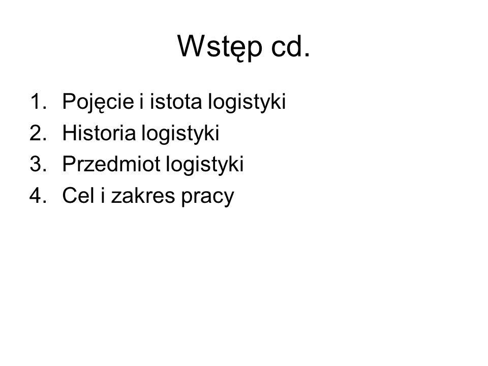 Wstęp cd. Pojęcie i istota logistyki Historia logistyki