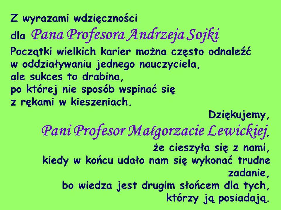 Z wyrazami wdzięczności dla Pana Profesora Andrzeja Sojki