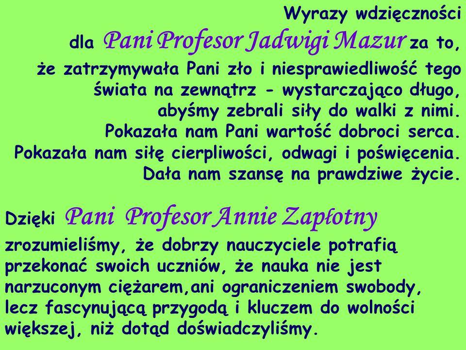 Wyrazy wdzięczności dla Pani Profesor Jadwigi Mazur za to,